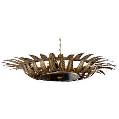 Spanish Gilt Metal Light Fixture with Two-Tiered Crown of Carved Pointed Leaves