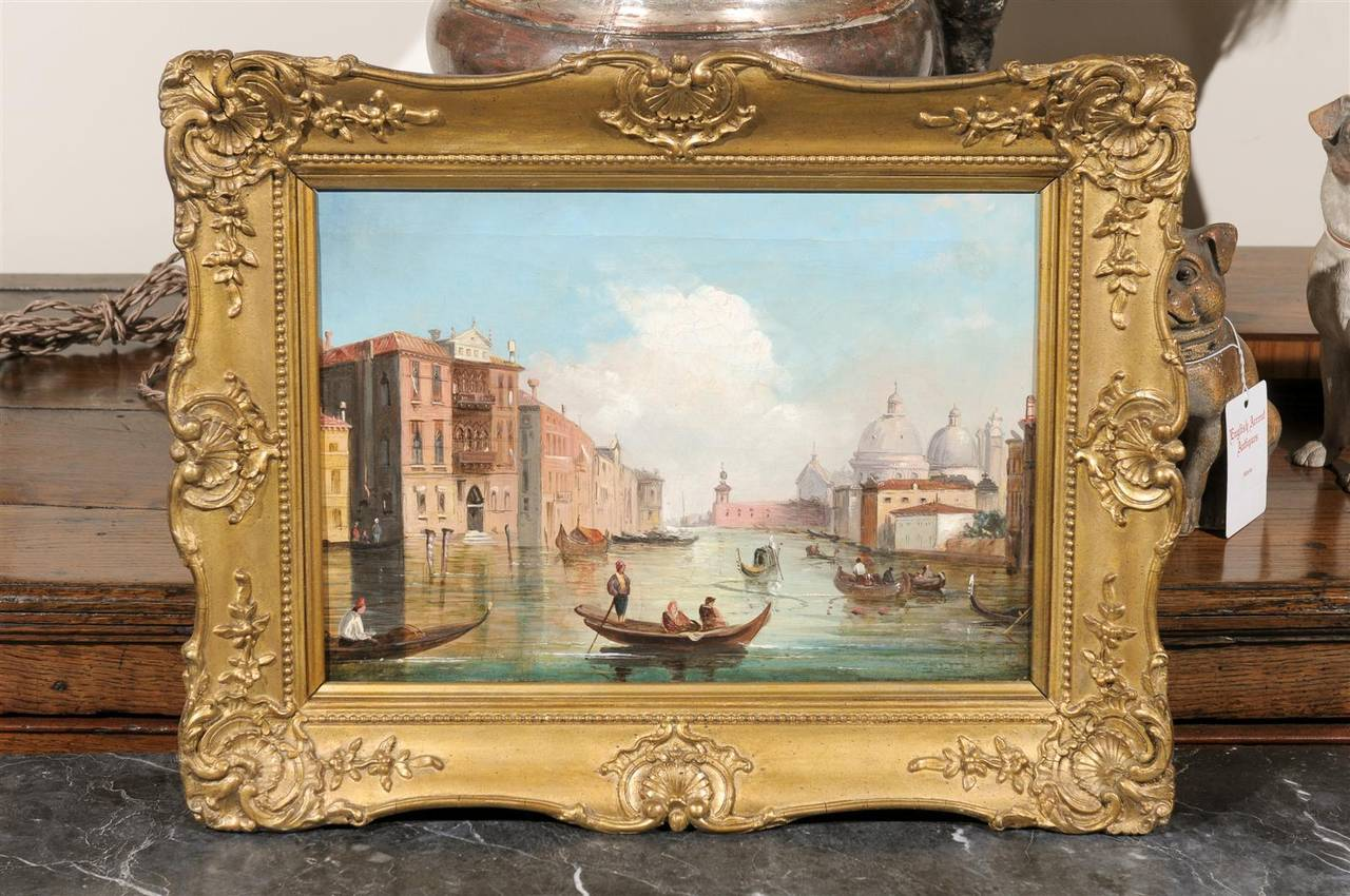 This Italian oil on canvas painting of Venice was made in the early 19th century. Featuring one of the most striking Venetian scenes, the Grand Canal, the artist was probably near the Ponte dell' Accademia when he (or she) set up his easel. The