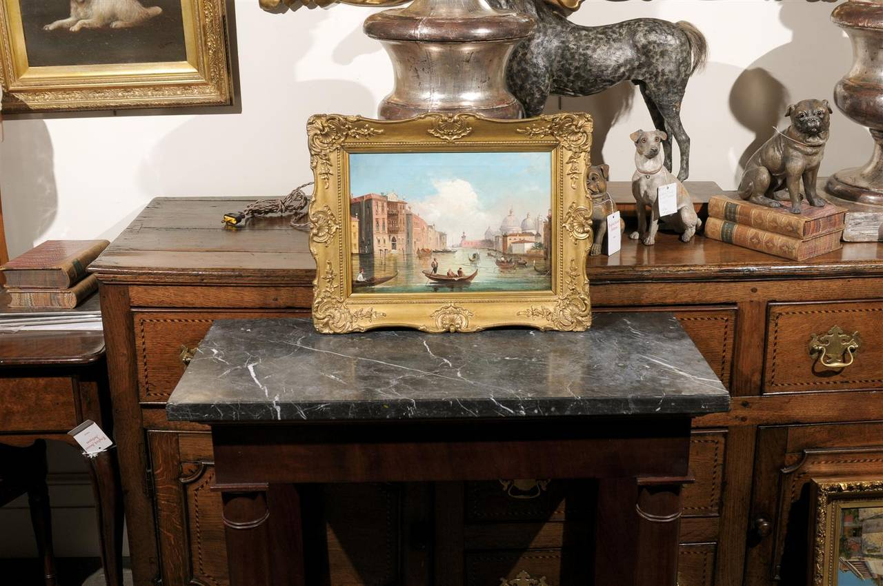 Italian Oil on Canvas Painting of Venice, circa 1830 in Original Giltwood Frame In Good Condition For Sale In Atlanta, GA
