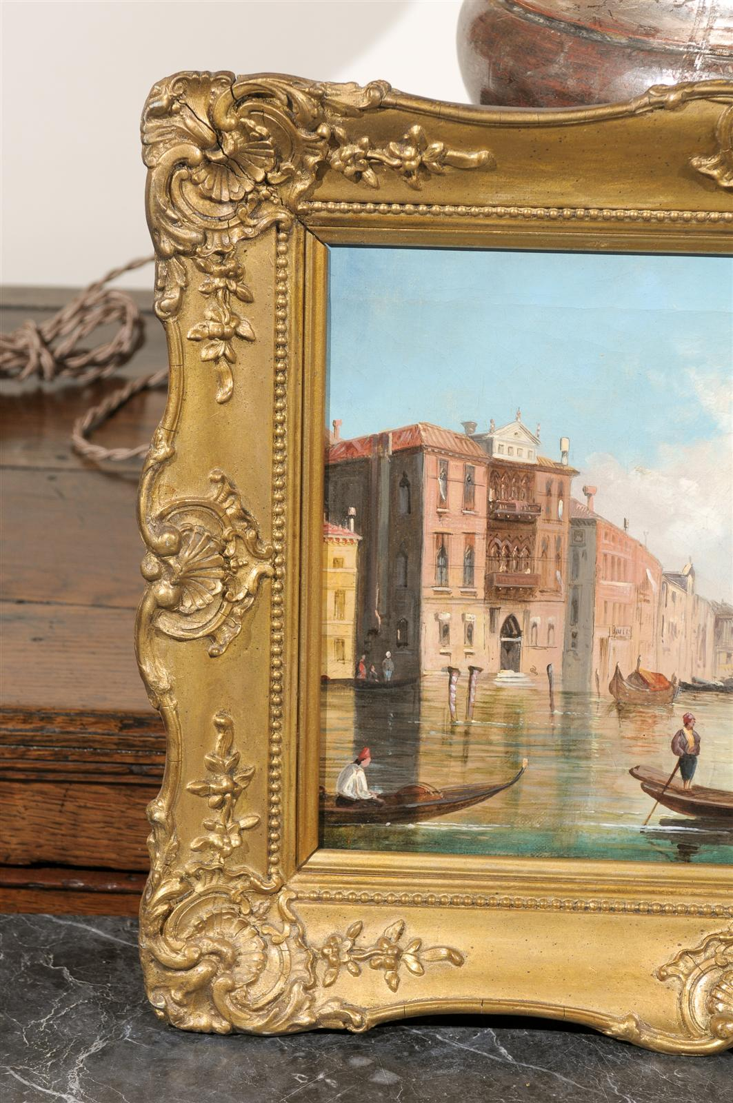 Italian Oil on Canvas Painting of Venice, circa 1830 in Original Giltwood Frame For Sale 2