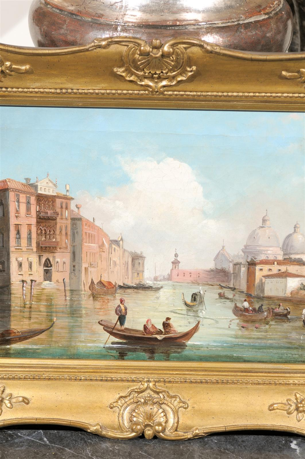 19th Century Italian Oil on Canvas Painting of Venice, circa 1830 in Original Giltwood Frame For Sale