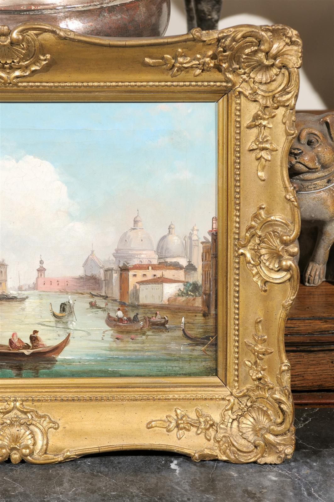 Italian Oil on Canvas Painting of Venice, circa 1830 in Original Giltwood Frame For Sale 5