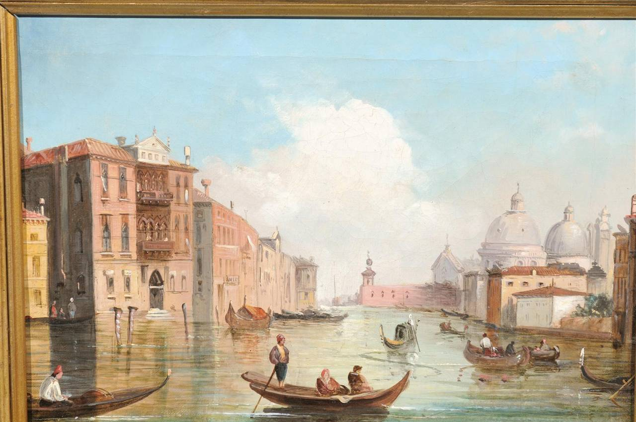 Italian Oil on Canvas Painting of Venice, circa 1830 in Original Giltwood Frame For Sale 4