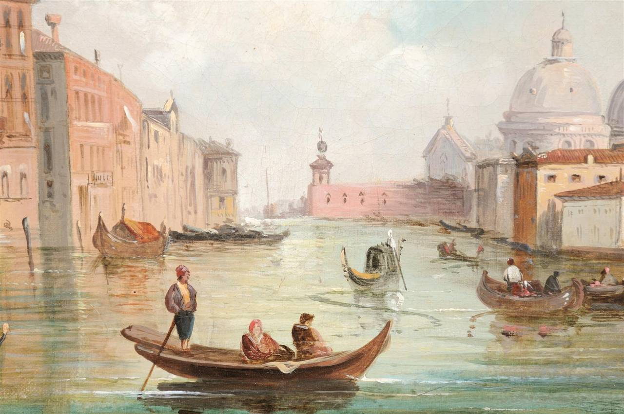 Italian Oil on Canvas Painting of Venice, circa 1830 in Original Giltwood Frame For Sale 3