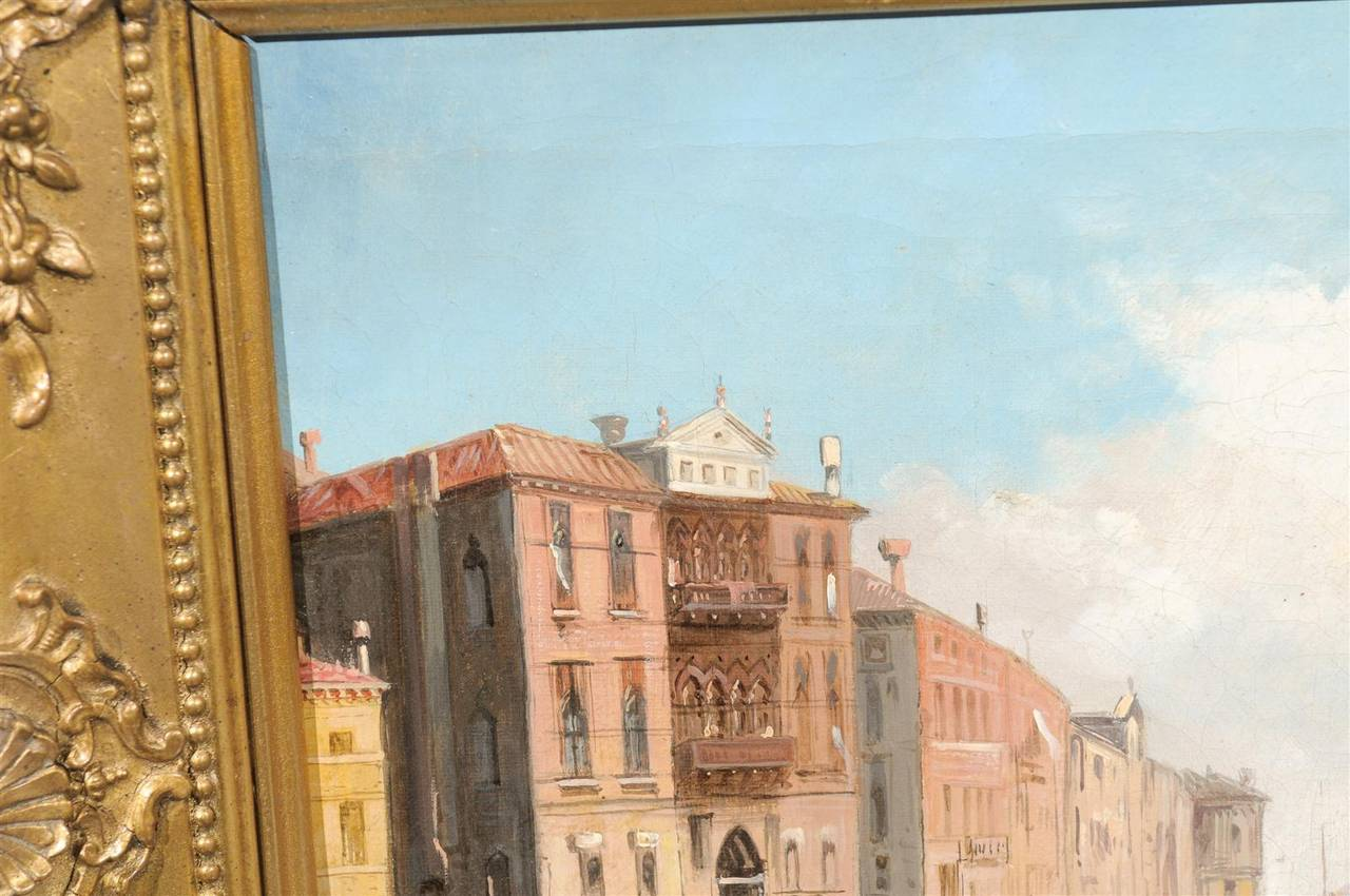 Italian Oil on Canvas Painting of Venice, circa 1830 in Original Giltwood Frame For Sale 1