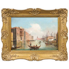 Italian Oil on Canvas Painting of Venice, circa 1830 in Original Giltwood Frame