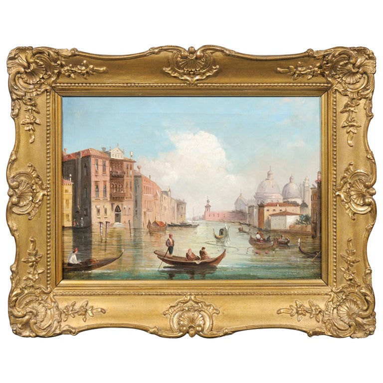 Italian Oil on Canvas Painting of Venice, circa 1830 in Original Giltwood Frame For Sale