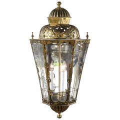 English Brass Three-Light Lantern with Glass Panels and Pierced Top, circa 1890