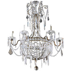 Italian Six-Light Crystal Basket Chandelier from the Early 20th Century