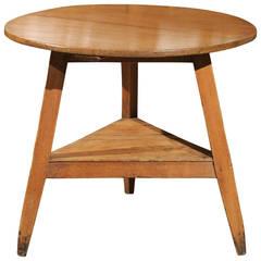 English Three-Legged Pine Cricket Table with Shelf, circa 1840