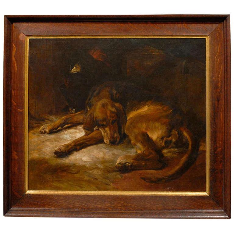 English Dog Oil Painting at 1stdibs
