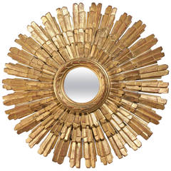 Italian Palladio Import Three-Layered Giltwood Sunburst Mirror from the 1960s
