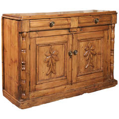 Pine Buffet from the Mid-19th Century with Two Drawers over Two Carved Doors