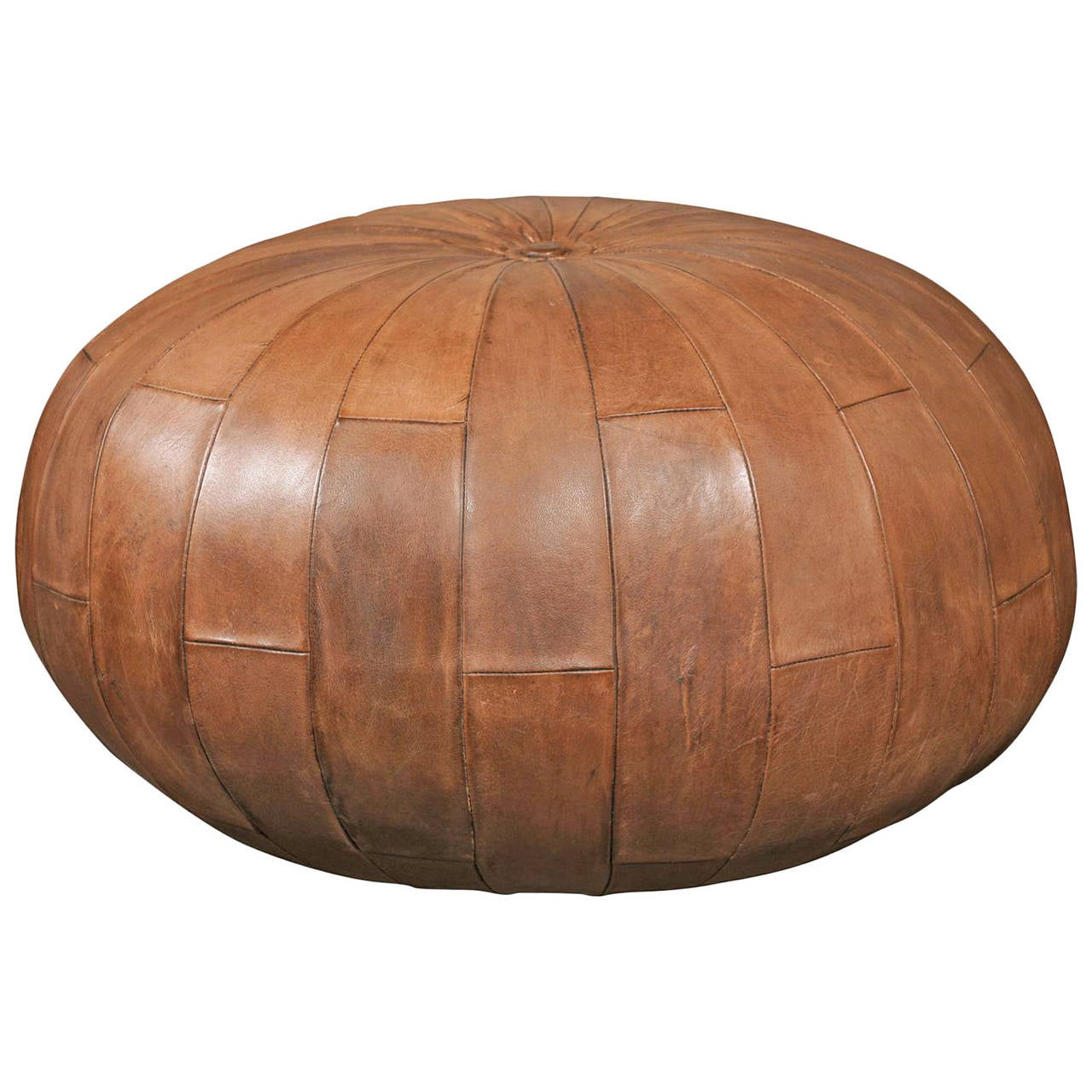 leather pouf or ottoman at 1stdibs. Black Bedroom Furniture Sets. Home Design Ideas
