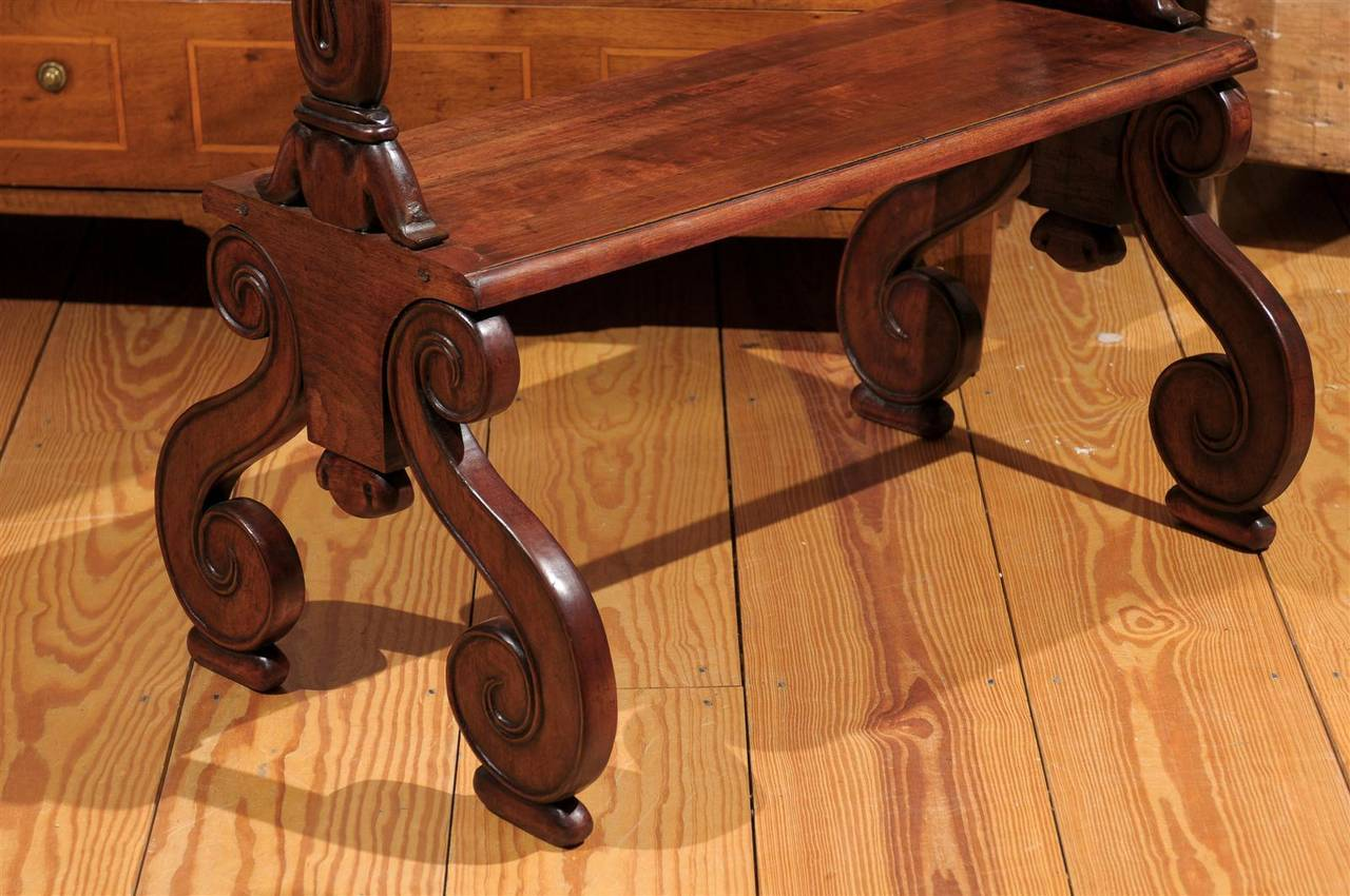 Mahogany Three-Tiered Shelf with Scrolled Legs from the Late 19th Century In Good Condition For Sale In Atlanta, GA