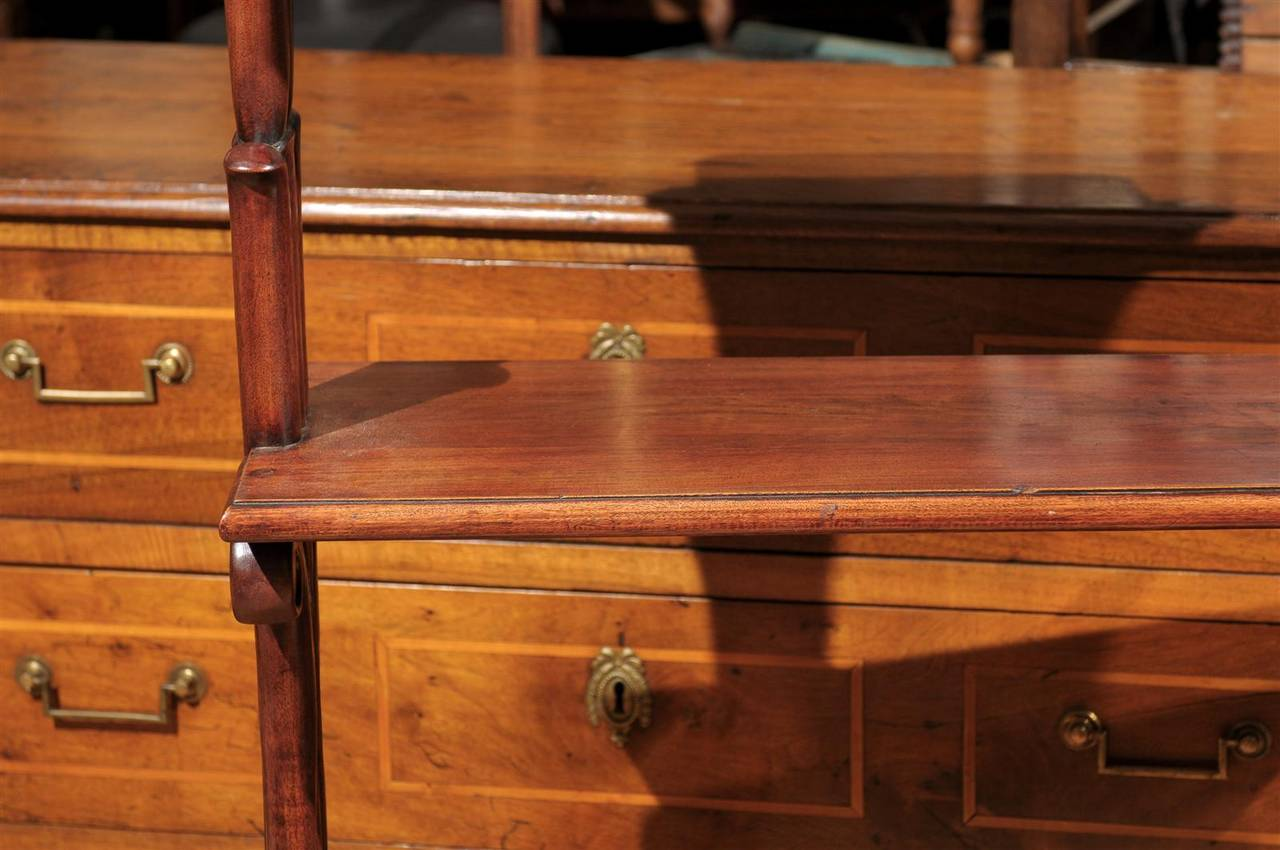 Mahogany Three-Tiered Shelf with Scrolled Legs from the Late 19th Century For Sale 2