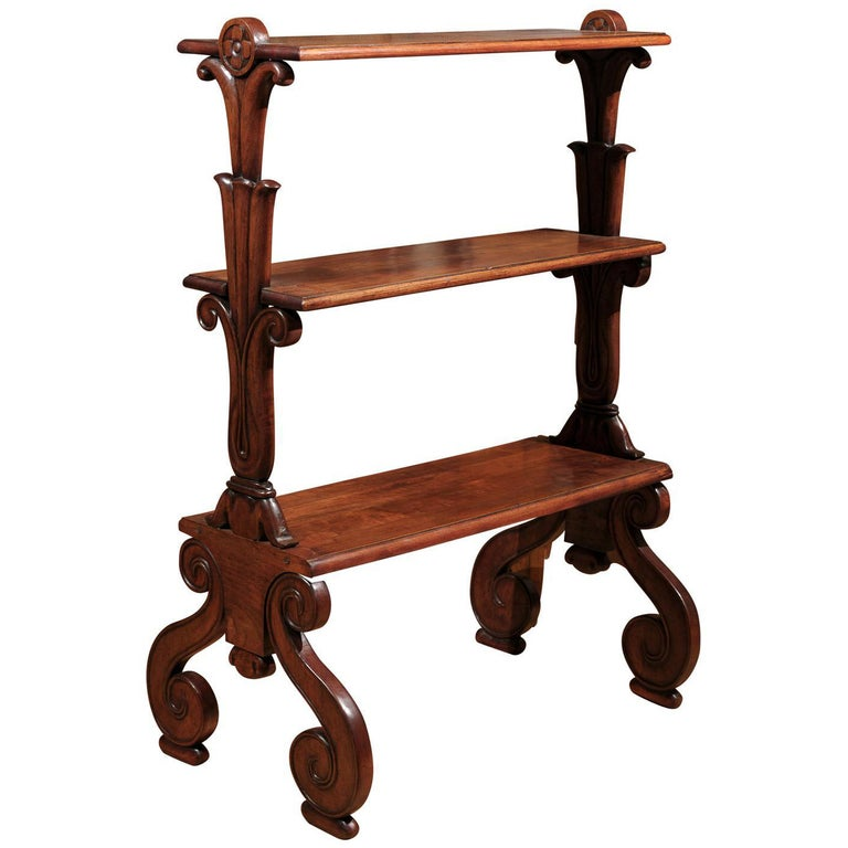 Mahogany Three-Tiered Shelf with Scrolled Legs from the Late 19th Century For Sale