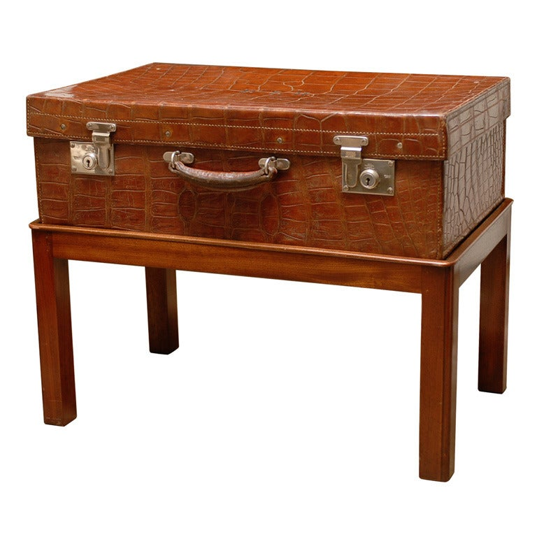 British Colonial Crocodile Case on Custom Stand from the 1920s For Sale