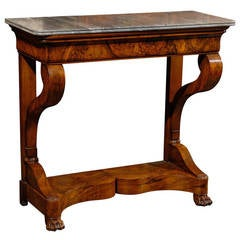 19th Century French Louis Philippe Walnut Marble-Top Console with Shaped Base