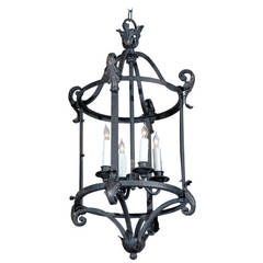 French 1920s Wrought-Iron Four Light wired Lantern with Acanthus Leaf Accents