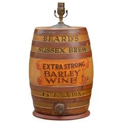 Large English Stoneware Spirit Barrel Lamp from the Late 19th Century