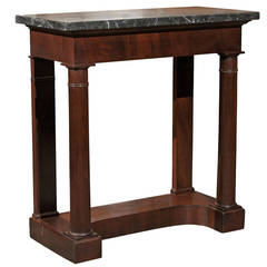 French Empire Style 1870s Console Table with Grey Marble Top and Doric Columns