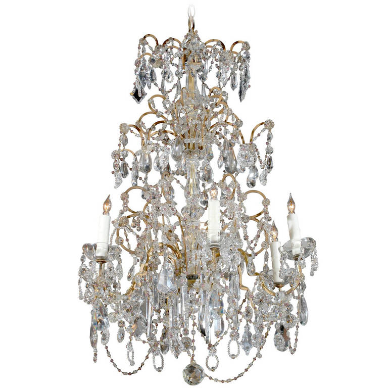 French Six-Light Crystal Chandelier with Amethyst Colored Beads, circa 1930