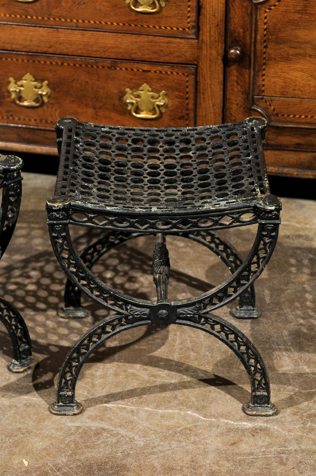 Pair of French 20th Century Belle Epoque Style Iron Garden Stools For Sale 2