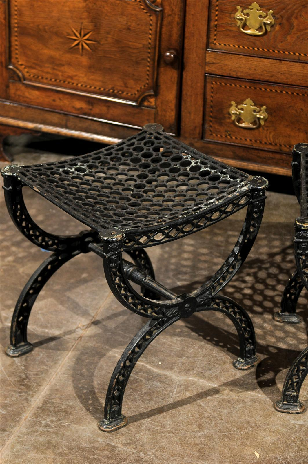 Pair of French 20th Century Belle Epoque Style Iron Garden Stools For Sale 1
