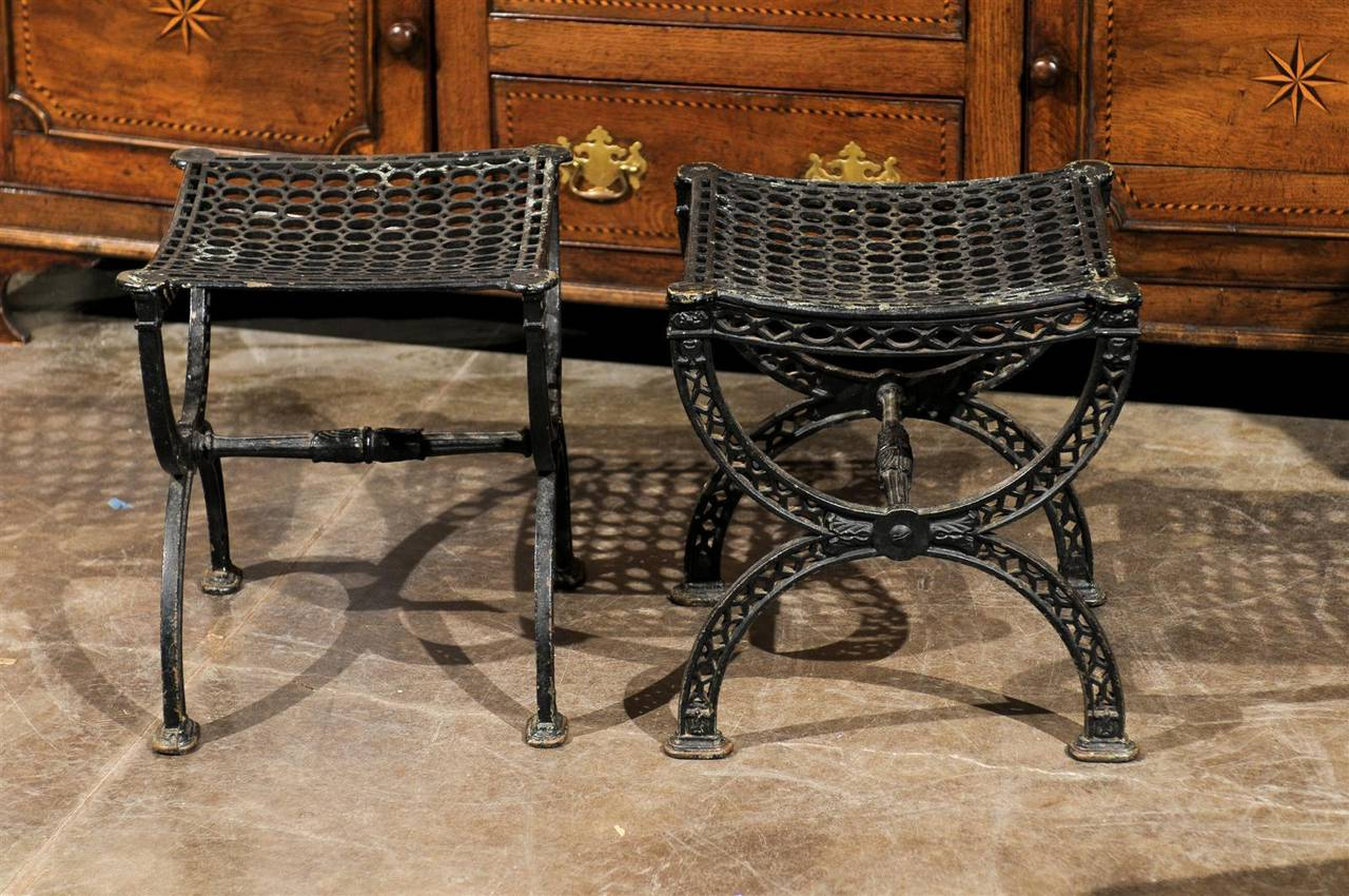 Pair of French 20th Century Belle Epoque Style Iron Garden Stools For Sale 4