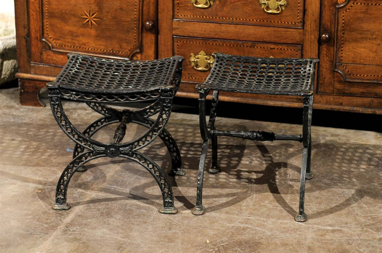 Pair of French 20th Century Belle Epoque Style Iron Garden Stools For Sale 5