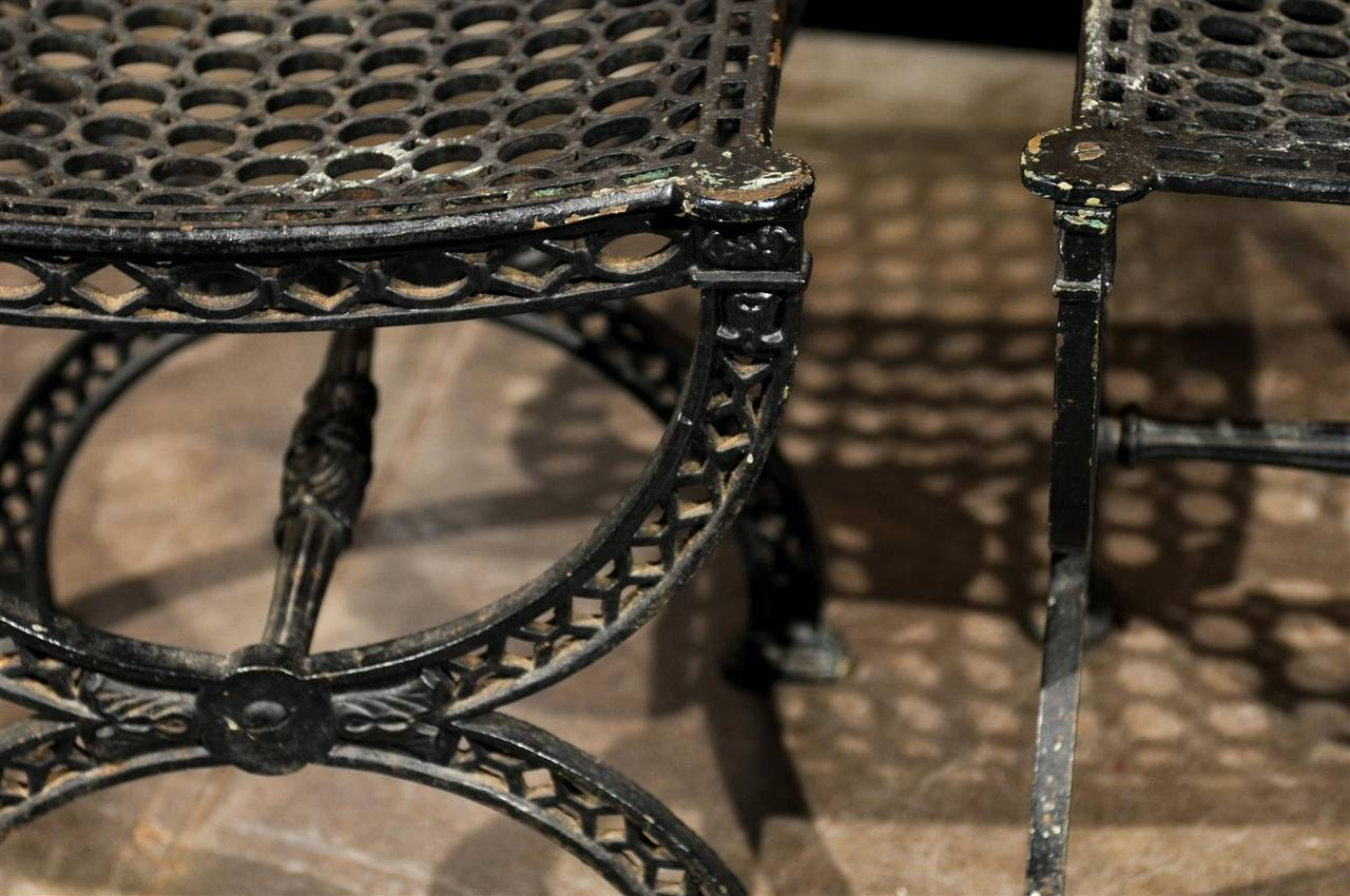 Pair of French 20th Century Belle Epoque Style Iron Garden Stools In Good Condition For Sale In Atlanta, GA