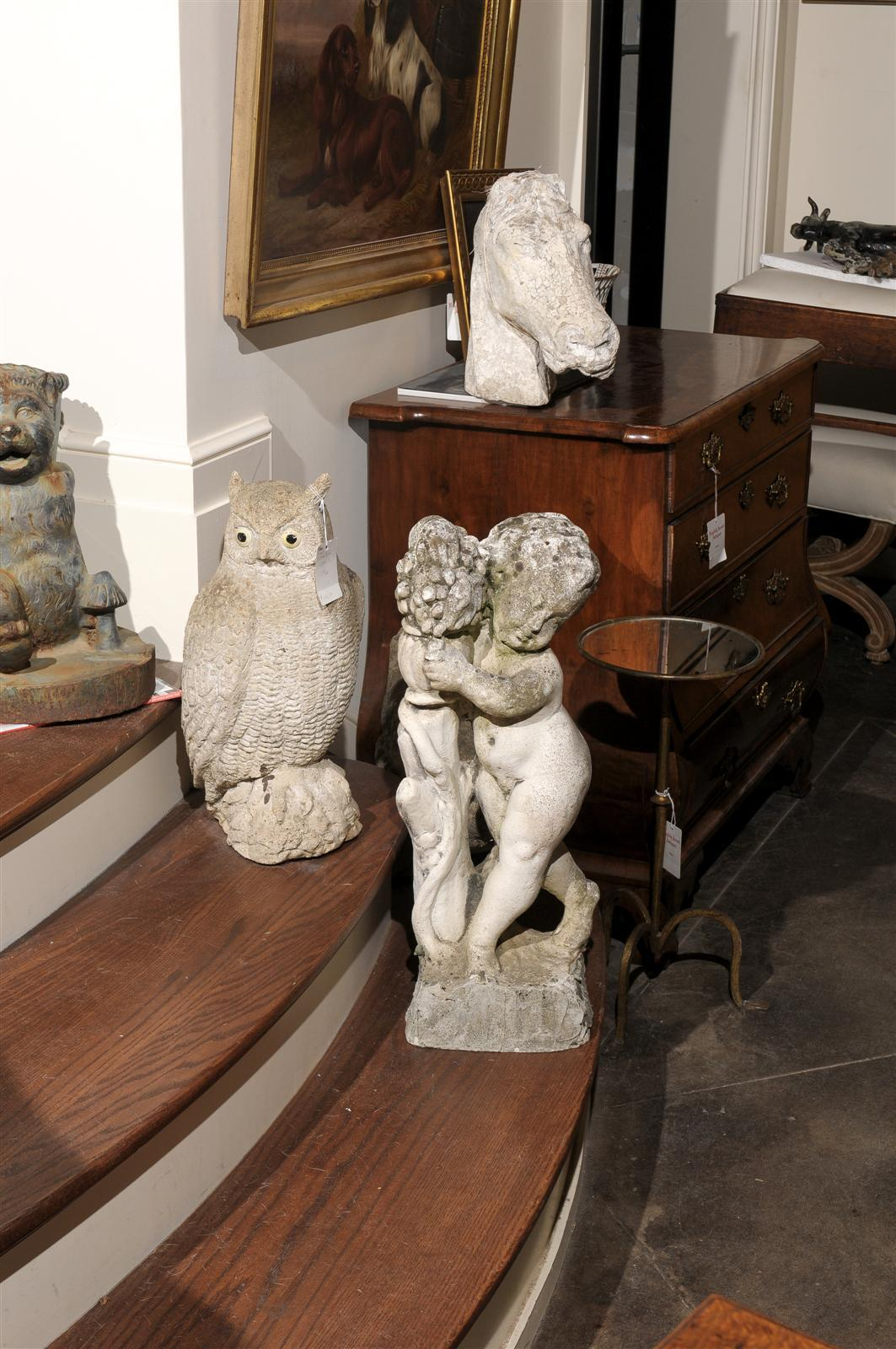 Mid-Century Modern French Carved Stone Putti Sculpture with Grapes from the Mid 20th Century For Sale