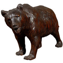 Swiss Black Forest Carved Wood Roaring Bear Sculpture from the Late 19th Century