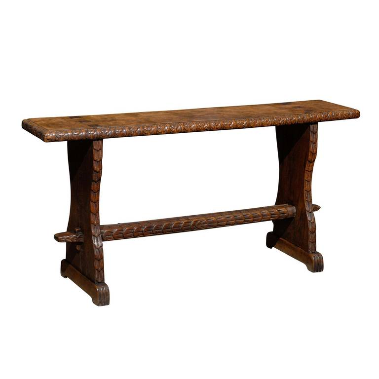 Narrow Bench With Carved Stretcher At 1stdibs