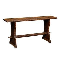 Narrow Bench with Carved Stretcher