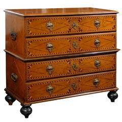 Italian Late 18th Century Four-Drawer Commode with Marquetry and Banding