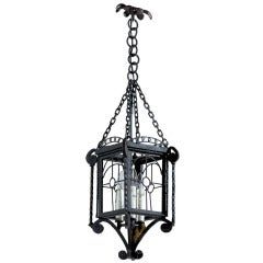Small French Iron Three-Light Lantern-Style Chandelier from the 1930s