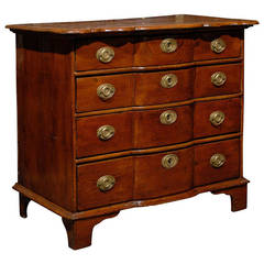 Italian Fruitwood Late 18th Century Four-Drawer Chest with Serpentine Front