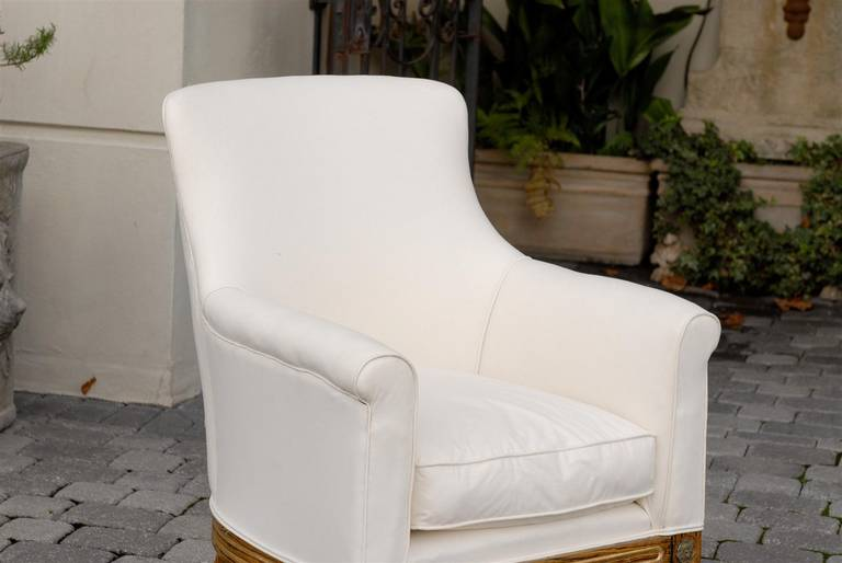 English Regency Upholstered Armchair with Painted and Gilt Wood Legs on Casters For Sale 4
