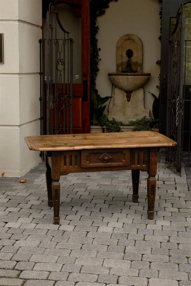 Italian country table with single drawer carved apron
