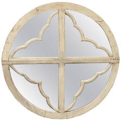 Italian Mid-19th Century Round Painted Wood Window Frame Mirror