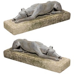 Pair of English Lead Reclining Greyhounds Dogs on Stone Base, Mid-20th Century