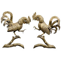Pair of Rooster Andirons