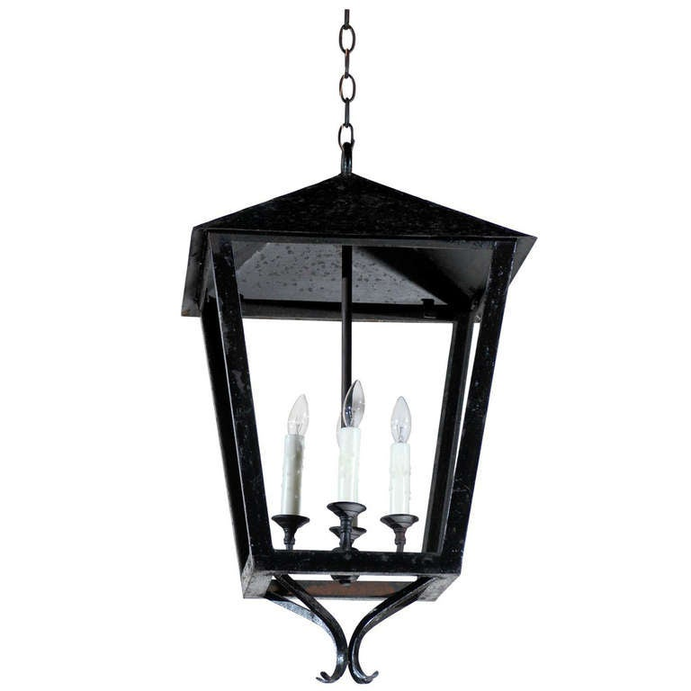 French Vintage Black Iron Four-Light Lantern with Triangular Top and Scrolls