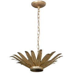 Vintage Spanish Gilt Metal Light Fixture with Layered Leaves and Mirrored Glass