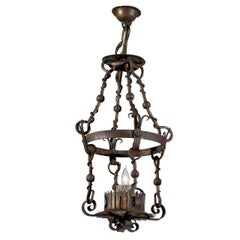 French Iron Single Light Lantern with Scrolling Foliage Decor from the 1930s