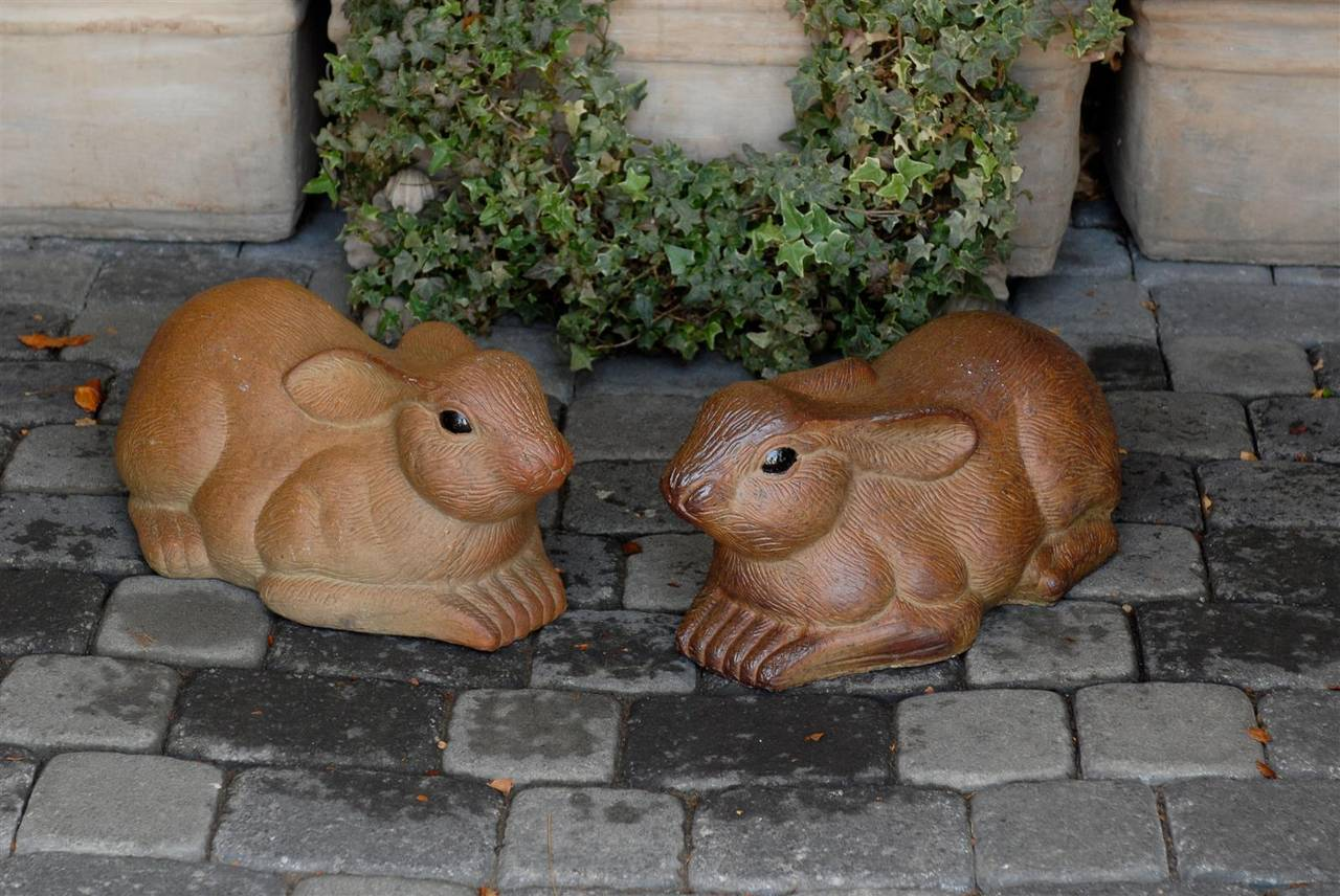 Pair of Large Painted Terracotta Rabbit Sculptures, 20th Century, English For Sale 4