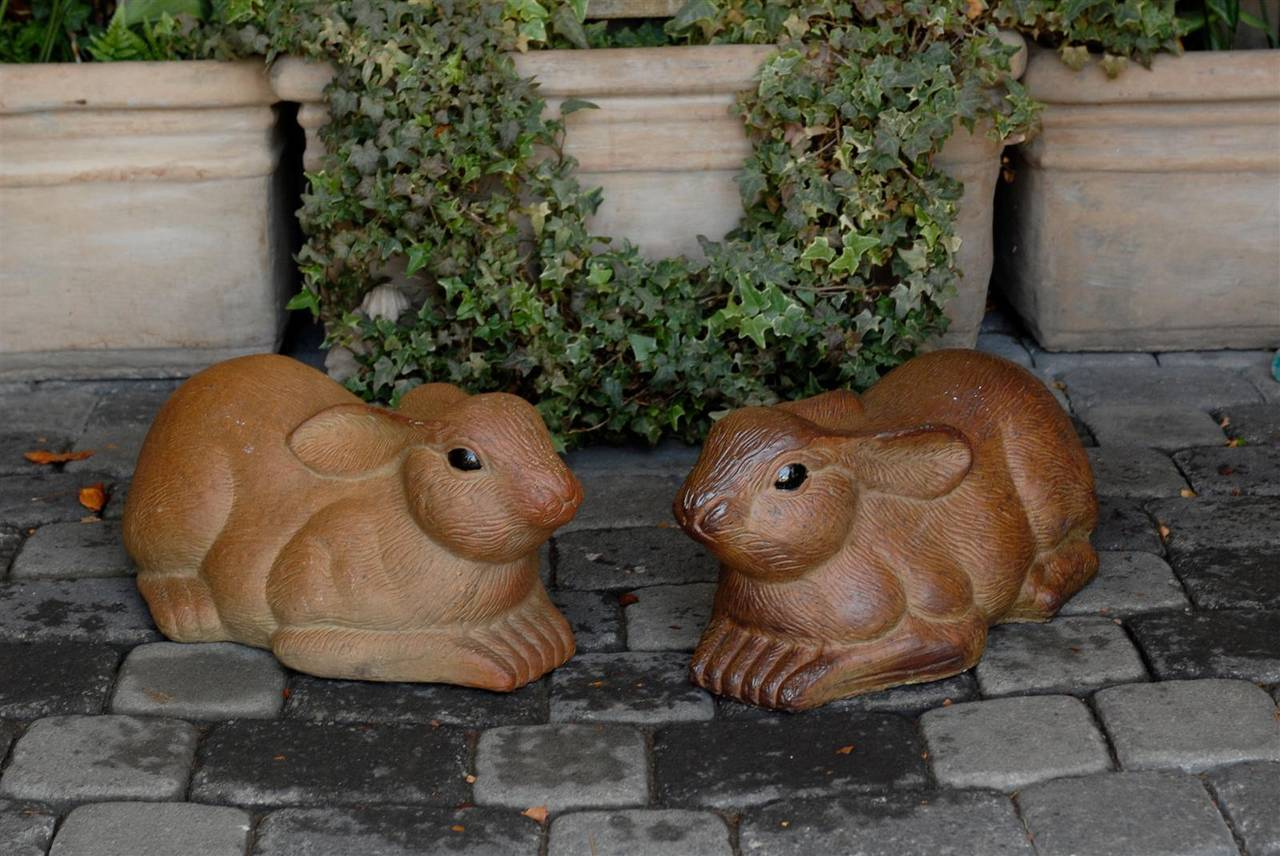 Pair of Large Painted Terracotta Rabbit Sculptures, 20th Century, English For Sale 5