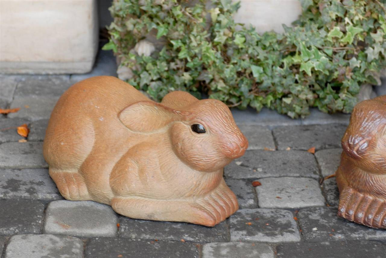 Pair of Large Painted Terracotta Rabbit Sculptures, 20th Century, English For Sale 3